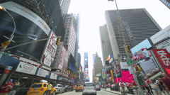 Driving POV shot of New York City street Times Square Stock Footage