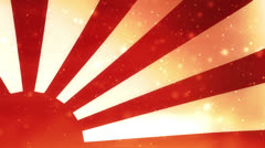 Japanese rising sun flag on fire Stock Footage