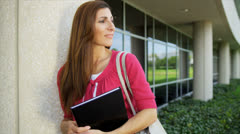 Portrait Female Caucasian College Lecturer Campus - stock footage