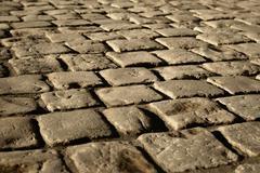 damp cobble-stone - stock photo