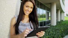 Young Female Caucasian Undergraduate College Campus Stock Footage