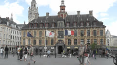 Lille - Rijsel, the facade of the Vieille Bourse on the Grand-Place, France - stock footage