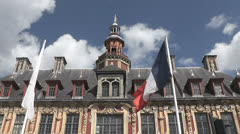 Lille - Rijsel, the facade of the old Stock Exhange on the Grand-Place, France Stock Footage