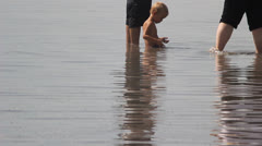 Beach bathers Stock Footage