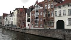 Bruges - Brugge, Canal between Spiegelrei and Spinolarei , Flanders, Belgium Stock Footage