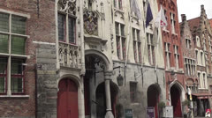 Bruges - Brugge, Old Toll House at the Jan van Eyck square, Flanders, Belgium Stock Footage