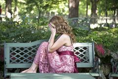 Sad Beautiful Woman Outdoors Stock Photos