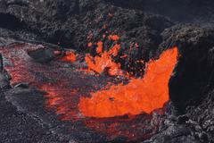 Ethiopia, Danakil, lava erupting at Erta ale volcano - stock photo