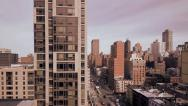 Stock Video Footage of cityscape. aerial view. nyc. skyline skyscrapers. intro. commuter. 1080