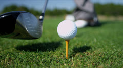 Close Up Golfer Teeing Off Green Stock Footage