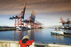 Germany, Hamburg, Waltershof, Container Terminal with ships - stock photo