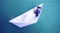 Ship of paper Stock Footage