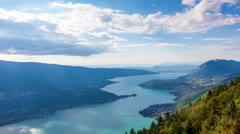 Timelapse View of the Annecy lake from  Col du Forclaz Stock Footage