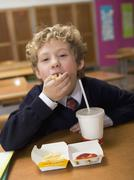 Boy (4-7) eating fast food, portrait, close-up Stock Photos