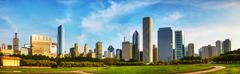 downtown chicago as seen from grant park - stock photo
