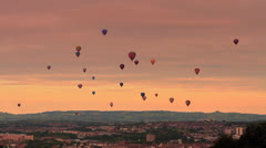 Hot Air Balloon in Flight over City 2 HD Stock Footage