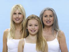 grandmother, daughter and granddaughter, portrait - stock photo