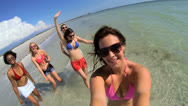 Wide Angle Group Teenage Vacation Friends Fun Beach Break Stock Footage