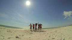 Wide Angle Group Teenage Vacation Friends Fun Beach Break - stock footage