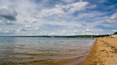 Siberian lake shoreline with waves. Shot in RAW, wide dynamic range Stock Footage