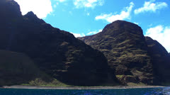 Na Pali Coast Kauai, Hawaii From Boat Stock Footage