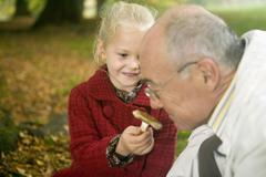 Germany, baden-württemberg, swabian mountains, grandfather and granddaughter Stock Photos