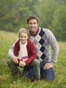 Stock Photo of germany, baden-württemberg, swabian mountains, father and daughter, portrait