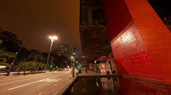 4K UHD Avenida Paulista Museum of Art MASP Sao Paulo Brazil Stock Footage