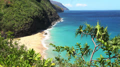 Na Pali Coast Beach - Kauai, Hawaii - stock footage