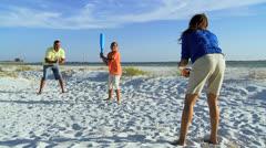 Healthy Ethnic Family Fitness Beach Baseball Stock Footage
