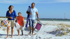 Young Ethnic Family Spending Weekend Beach Stock Footage