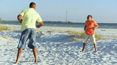 African American Father Son Fun Beach Games Stock Footage