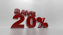 Save 20% text animation - stock footage