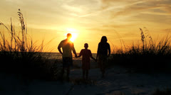 African American Family Watching Sunset Silhouette Stock Footage