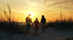 Loving Family Silhouette Holding Hands Beach Sunset Stock Footage