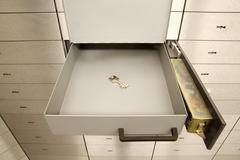 Open safety deposit box Stock Photos