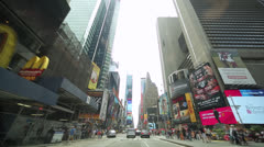 Driving POV shot of New York City street Times Square time-lapse Stock Footage