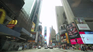 Stock Video Footage of Driving POV shot of New York City street Times Square time-lapse