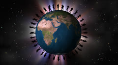 Dancing people dark silhouettes around the Earth globe. Stock Footage