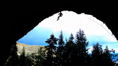 Silhouette of Male Rock Climbers 1 Stock Footage
