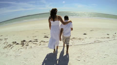 Wide Angle Young Ethnic Mother Son Walking Beach Stock Footage
