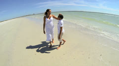 African American Mother Son Beach Shot Wide Angle - stock footage