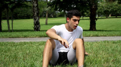 Getting up after workout. outdoors  Stock Footage