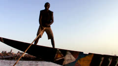 POV of a boat being rowed on the Niger River in Mali, Africa. Stock Footage