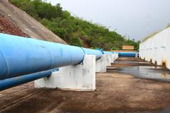 Water pipeline transporting Stock Photos