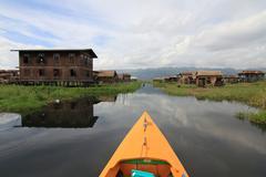 houses at inle lake, myanmar - stock photo