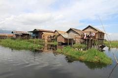 houses at inle lake, myanmar - stock photo