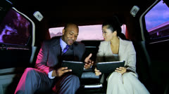 Smart Business Leaders Wireless Tablet Limousine - stock footage