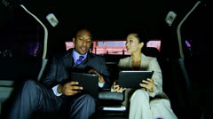 Male Female Business People Being Driven Luxury Limousine - stock footage