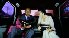Multi Ethnic Business Executives Chauffeur Driven Limousine - stock footage